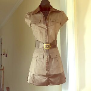 BEBE sz XS tan dress, belt buttondown